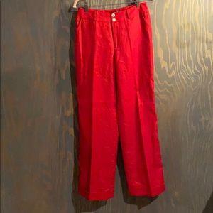 Lauren Ralph Lauren red 100% linen lined pants
